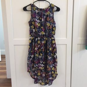 Girls floral pattern dress for the holidays.